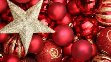 Обои шарики, звезда, украшения, блеск, праздник, круг, новый год