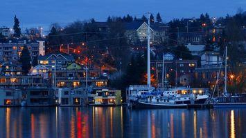 Фото бесплатно вода, корабли, дома, свет, окна, деревья, город