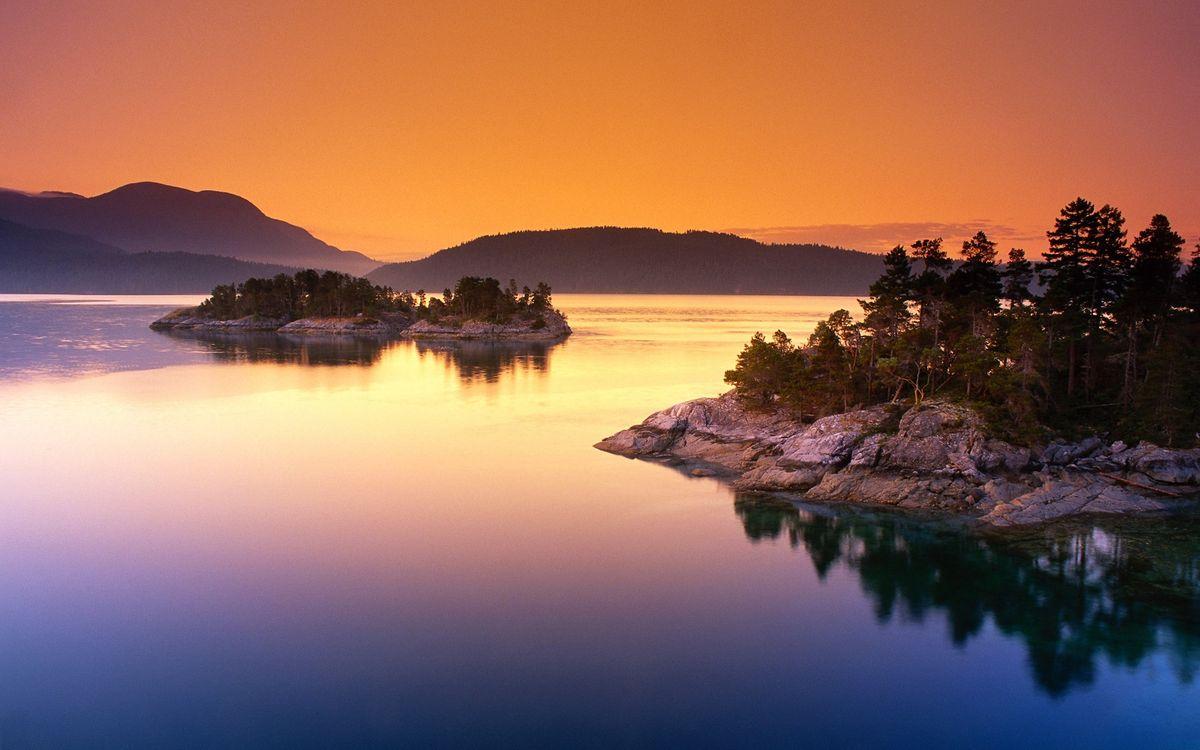 Фото бесплатно вода, река, озеро, острова, лес, деревья, закат, природа, природа - скачать на рабочий стол