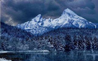 Бесплатные фото зима,снег,горы,лес,деревья,иней,озеро