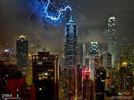 молния, мегаполис, небоскреб, national geographic, здания