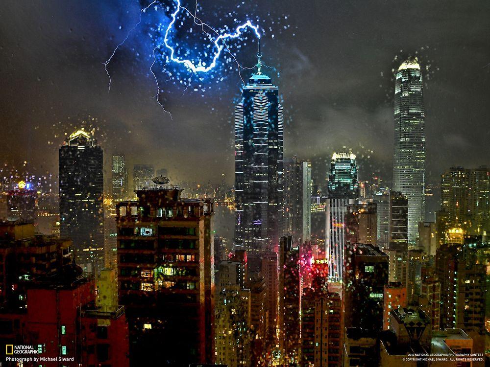 Фото бесплатно молния, мегаполис, небоскреб, national geographic, здания, капли, город, город