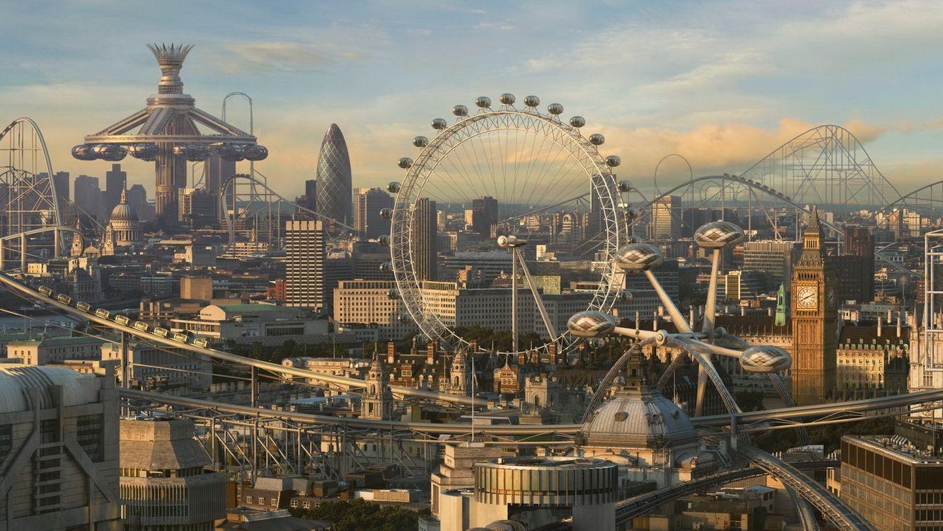 Фото бесплатно аттракцион, небо, погода, солнце, колесо, биг-бен, лондон, улицы, город, город