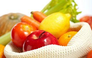 Заставки фрукты, овощи, яблоко, лимон, помидор, морковка, мандарин, зелень, еда