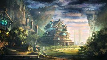 Бесплатные фото горы,дом,деревья,птицы,дорога,скалы,листья