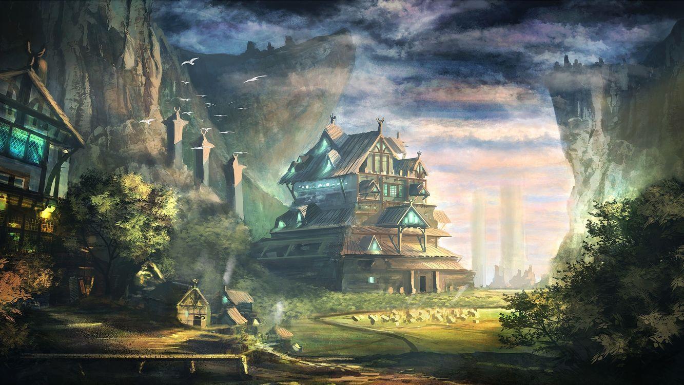 Фото бесплатно горы, дом, деревья, птицы, дорога, скалы, листья, небо, облака, пейзажи, пейзажи