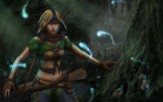 Бесплатные фото игра,девушка,лес,капюшон,лук,колчан,стрелы