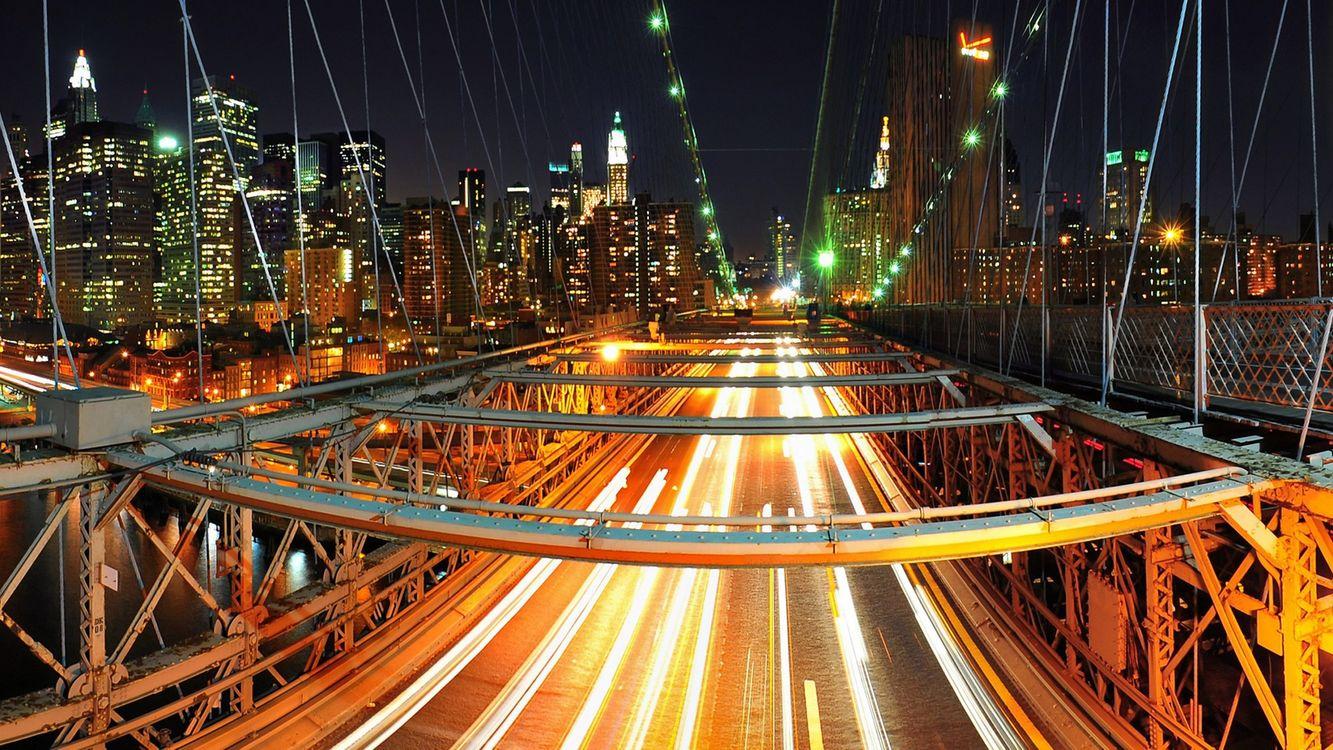 Фото бесплатно ночь, мост, конструкция, машины, фото с задержкой, фонари, свет, дома, небоскребы, огни, город, город