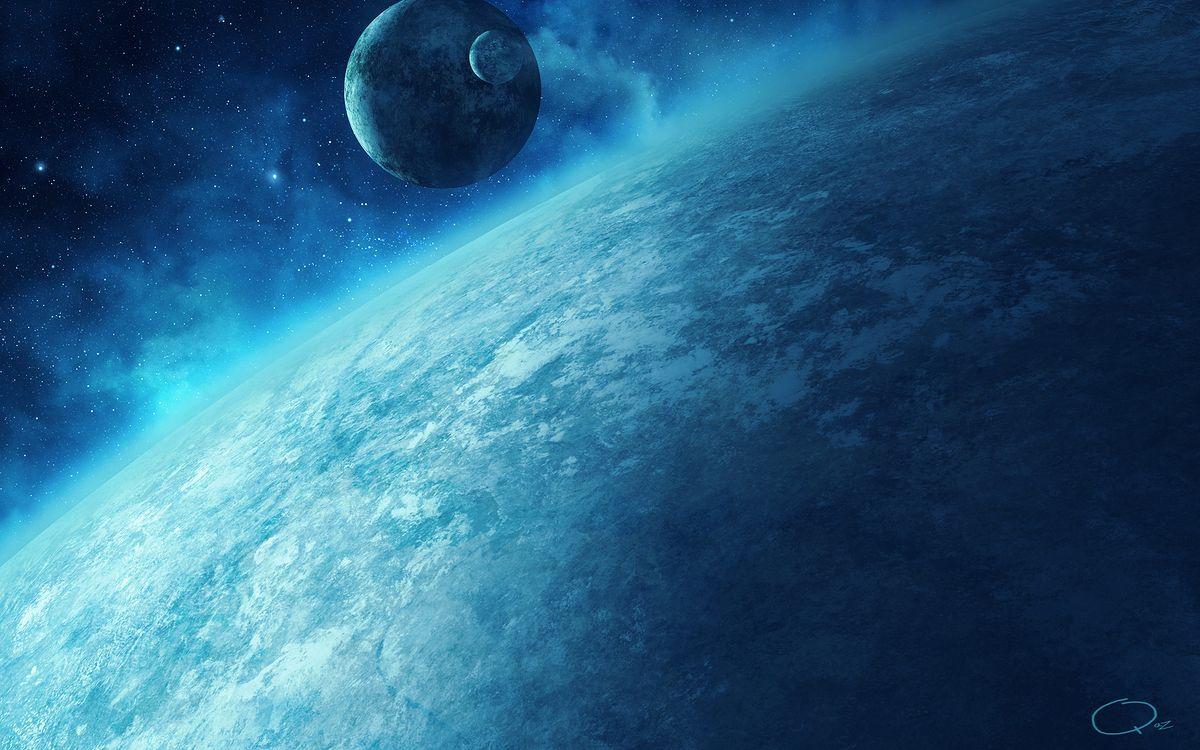 Фото бесплатно планета, спутник, звезды, туман, пыль, газ, туманность, галактика, космос, космос