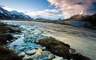 Бесплатные фото река,ручей,горы,камни,небо,облака,осень