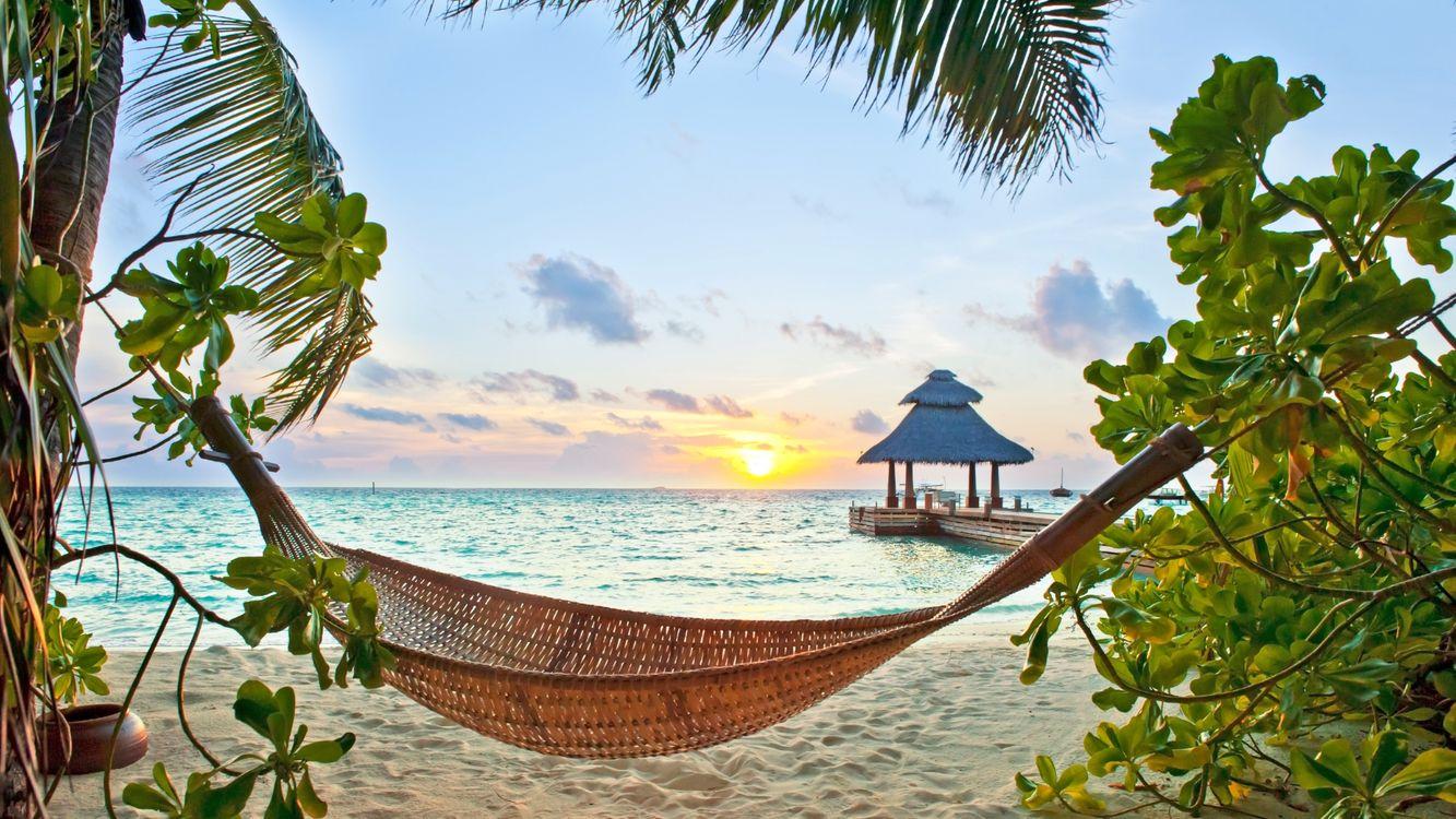 Фото бесплатно тропики, море, пляж, гамак, пейзажи, пейзажи