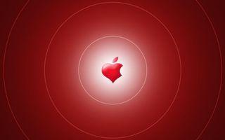 Обои яблоко, круги, белые, фон, красный, бардовый, сердце, apple, бренд, абстракции, разное
