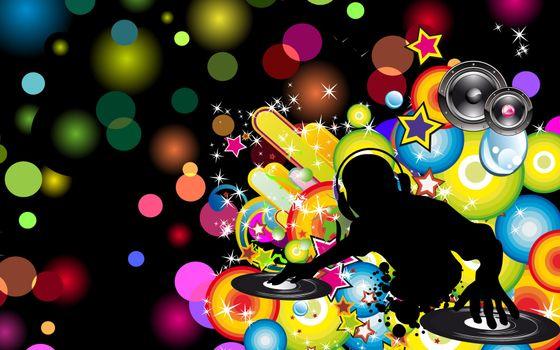 Бесплатные фото заставка,картинка,круги,цвета,диджей,наушники,колонки,пульт,музыка