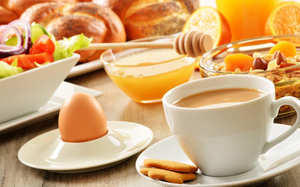 Фото бесплатно завтрак, чашка, кофе, печенье, яйцо, мед, салат, выпечка, еда, еда