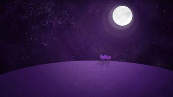 Бесплатные фото валентинка,сердечки,луна,ночь,звёзды