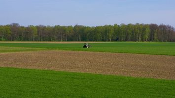Photo free field, tractor, green