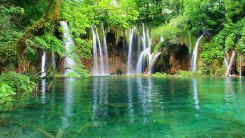 Обои водопад, лес, джунгли, залив, чистая, вода, деревья, растения, природа