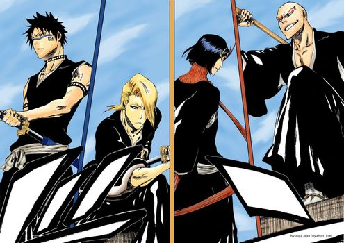 Бесплатные фото bleach,team,soul reapers,blue,sky,аниме