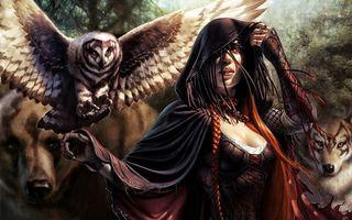 Фото бесплатно девушка, костюм, платье, сова, крылья, голова, перья, оперение, филин, девушки, птицы