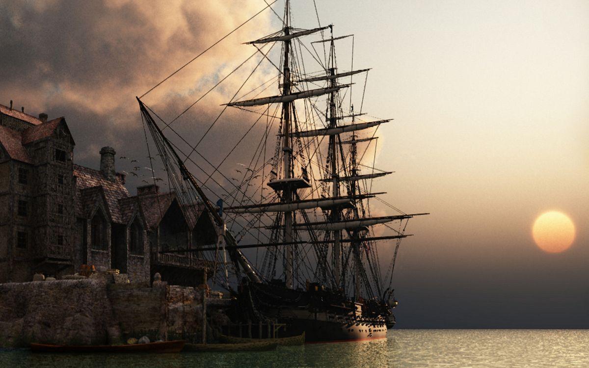 Фото бесплатно дома, пристань, корабль, парусник, мачты, море, корабли