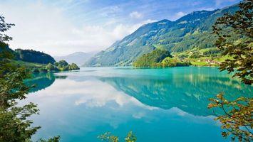 Фото бесплатно горы, мох, озеро, деревья, отражение, лес, дома