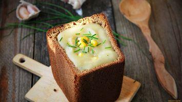 Бесплатные фото хлеб,зелень,ложка,чеснок,доска,укроп,еда