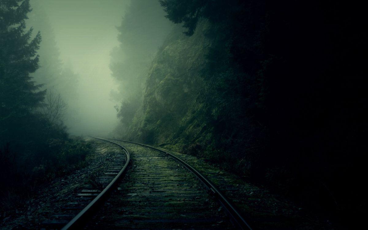 Фото бесплатно железная дорога, сумерки, мрак, туман, рельсы, шпалы, деревья, елки, лес, гора, скала, природа, природа