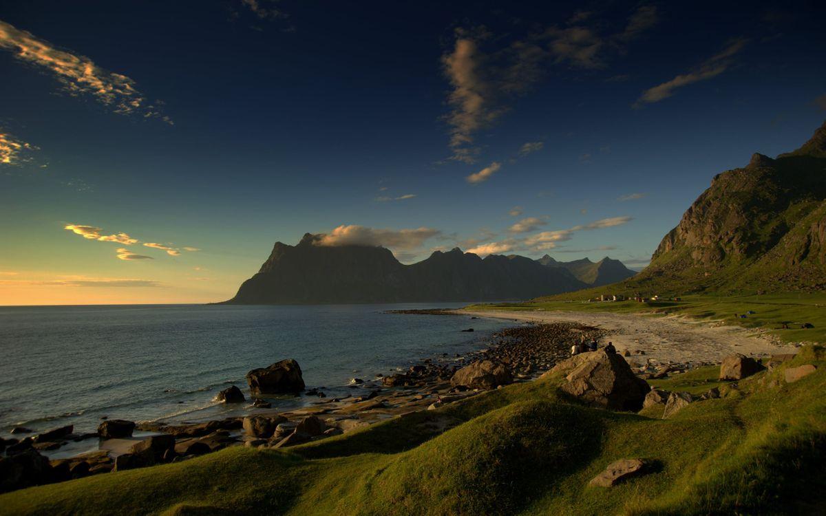 Фото бесплатно море, вода, горы, камни, небо, облака, природа, природа