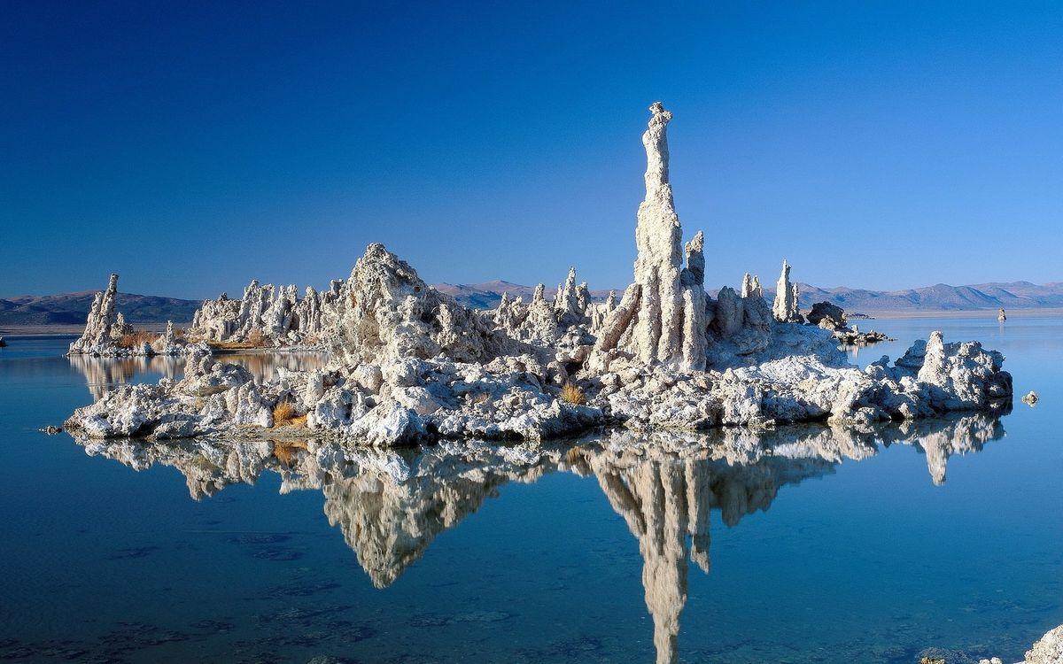Фото бесплатно море, озеро, вода, горы, холмы, небо, голубое, горизонт, окаменение, природа, природа