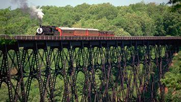 Бесплатные фото мост, металл, паравоз, дым, вагоны, высота, разное