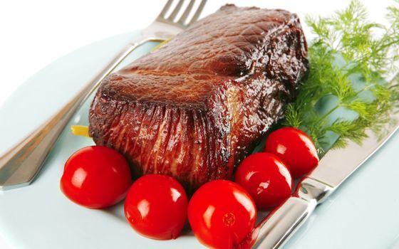 Фото бесплатно мясо, укроп, помидоры