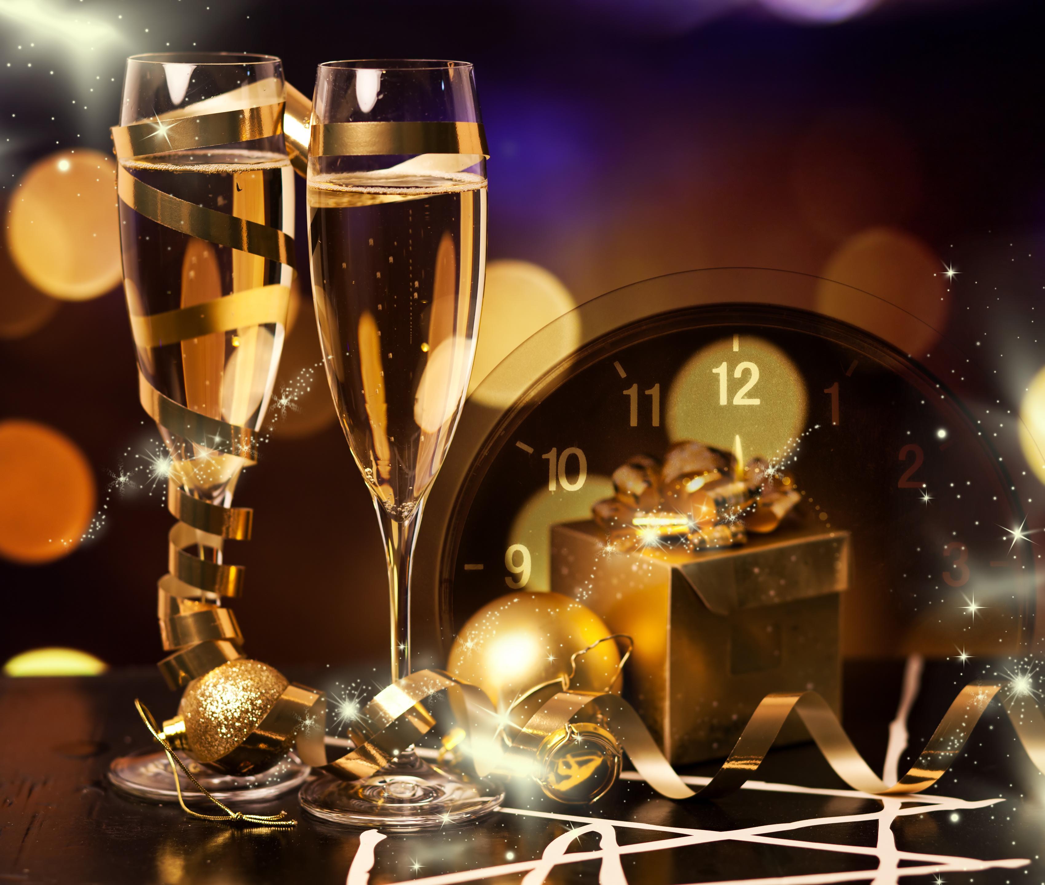 Днем рождения, открытки с новым годом с шампанским
