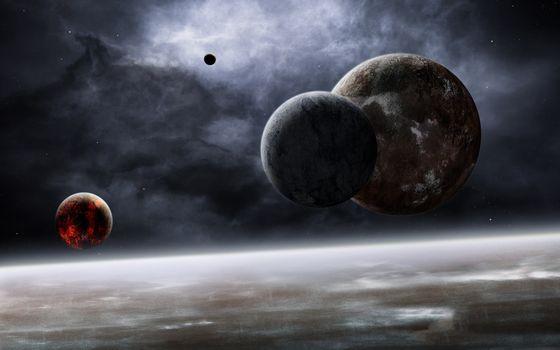 Фото бесплатно планетарные спутники, сгоревший спутник, атмосфера