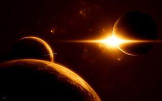 Обои планеты, спутник, земля, солнце, свет, тепло, туманности, галактики, звезды, орбита, шаттл, космос