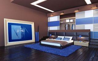 Фото бесплатно спальня, кровать, картина