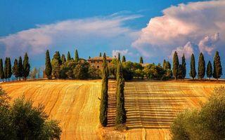 Фото бесплатно вилла, деревья, дорога, поля, небо, облака, пейзажи