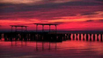 Фото бесплатно закат, причал, море