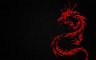 Фото бесплатно дракон, красный, огненный, черный фон, пламя, 2012, год, новый год