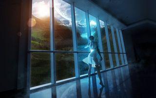 Заставки новый мир,девушка,смотрит,в окне,новые планеты,новые миры,горы