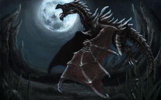 Бесплатные фото луна,скалы,ночь,полет,пасть,дракон