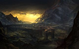 Бесплатные фото ведьмак 2,руины,арки,дракон,the witcher 2,скалы,пейзаж