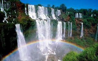 Photo free waterfall, rainbow, high