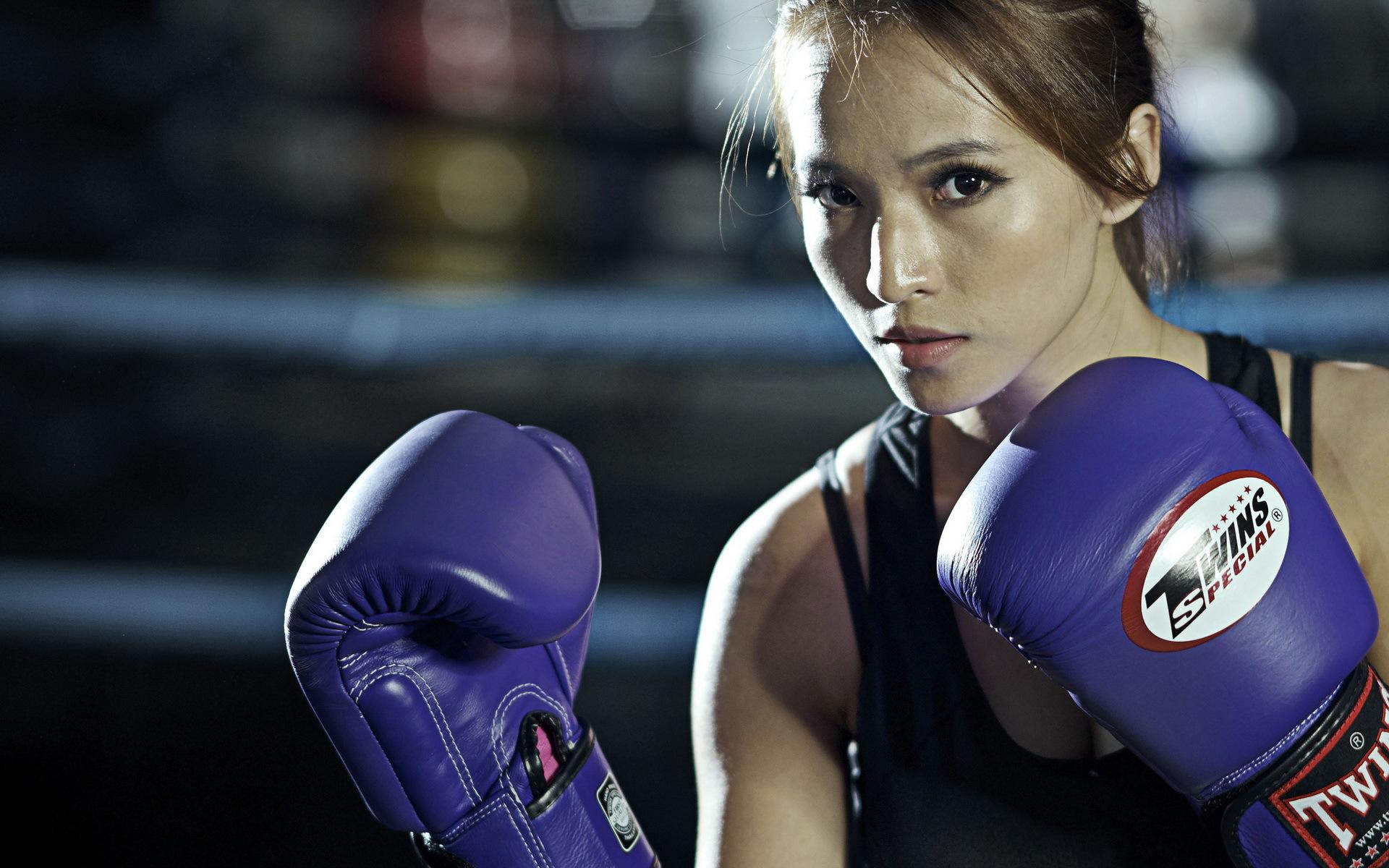 бокс, девушка, тренировка