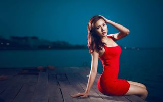 Фото бесплатно берегу, прическа, платье