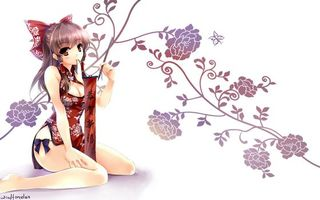 Бесплатные фото девушка, волосы, челка, костюм, иероглифы, бантик, ветки
