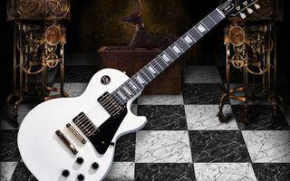 Обои гитара, электронная, струны, гриф, крутилки, механизмы, шестеренки, музыка