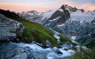 Фото бесплатно горы, снег, пик