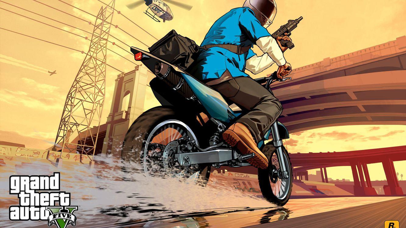 Фото бесплатно гта 5, мотоцикл, дорога - на рабочий стол