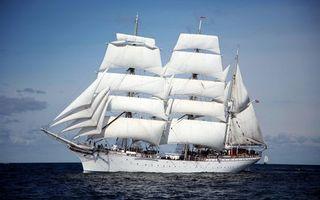 Бесплатные фото корабль,паруса,белые,ткань,флаг,море,океан