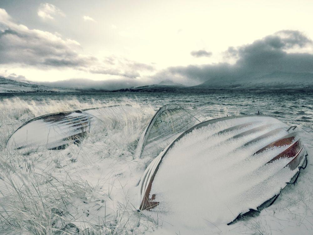 Фото бесплатно лодки, снег, небо - на рабочий стол